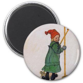 Esbjorn on Skis 1905 Refrigerator Magnets
