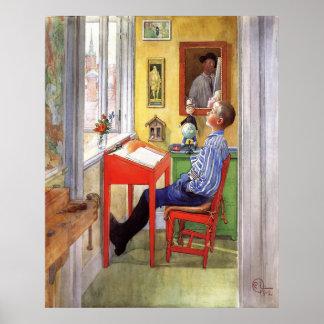 Esbjorn que hace su preparación de Carl Larsson Posters