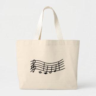 Escala de la música y bolso ondulados de las notas bolsa tela grande