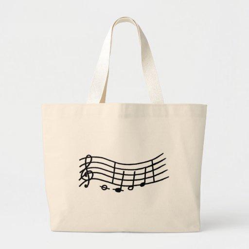 Escala de la música y bolso ondulados de las notas bolsas de mano