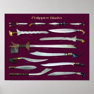 Escala filipina de las cuchillas 1/4 posters