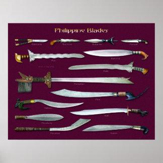 Escala filipina de las cuchillas el 1/2 póster