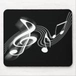 Escala musical blanco y negro Mousepad Tapetes De Ratones