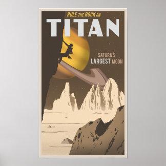 Escalada en titán, una luna de Saturn Póster