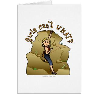 Escalador de roca ligero del chica tarjeta de felicitación