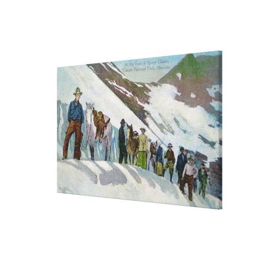 Escaladores en el pie del glaciar de Sperry Lienzo Envuelto Para Galerías