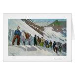Escaladores en el pie del glaciar de Sperry Tarjeton