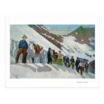 Escaladores en el pie del glaciar de Sperry Tarjeta Postal