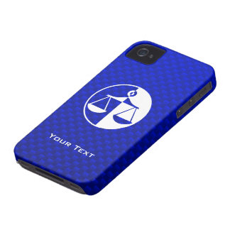 Escalas azules de la justicia iPhone 4 Case-Mate protector