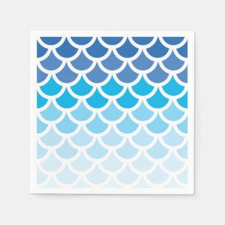 Escalas azules de la sirena de Ombre Servilleta Desechable