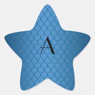Escalas azules del dragón del monograma pegatina en forma de estrella