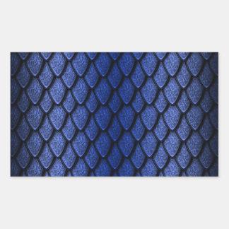 Escalas azules del dragón pegatina rectangular
