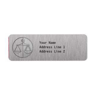 Escalas cepilladas de la justicia de la Metal-mira Etiqueta De Remite