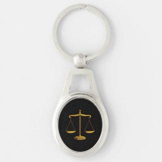 Escalas clásicas de los abogados de la justicia el llavero plateado ovalado