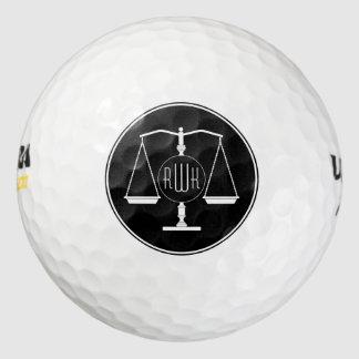 Escalas clásicas del monograma de la justicia pack de pelotas de golf