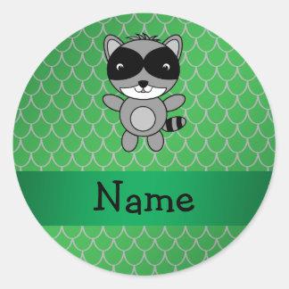 Escalas conocidas personalizadas del dragón verde etiquetas redondas