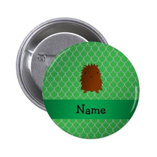 Escalas conocidas personalizadas del dragón verde  pin redondo 5 cm