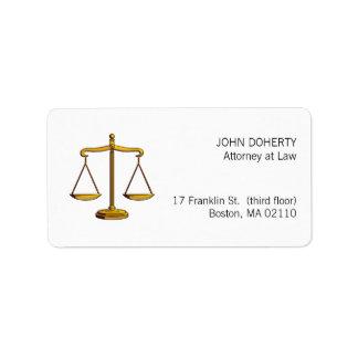Escalas de la etiqueta de la ley de la justicia etiqueta de dirección