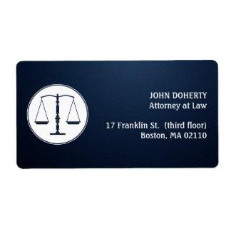 Escalas de la etiqueta de la ley de la justicia etiquetas de envío
