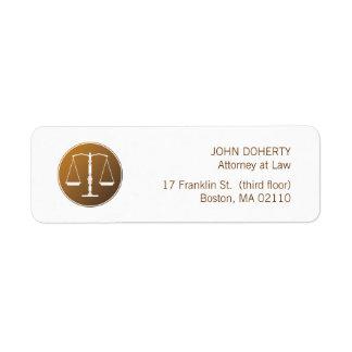 Escalas de la etiqueta de la ley de la justicia etiqueta de remite