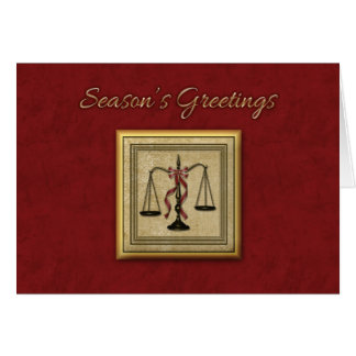 Escalas de la justicia, abogado, saludo del día de tarjetas