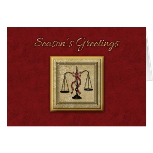 Escalas de la justicia, abogado, saludo del día de tarjeta de felicitación