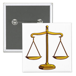 Escalas de la justicia - botón de la ley pin cuadrado