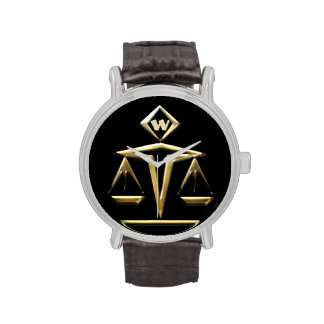 Escalas de la justicia - con monograma (v1) relojes de mano