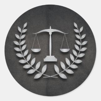 Escalas de la justicia de la práctica el | y pegatinas redondas