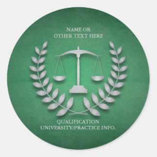 Escalas de la justicia del colegio de abogados el pegatina redonda