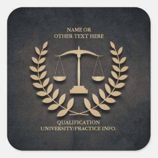 Escalas de la justicia del colegio de abogados el pegatina cuadrada