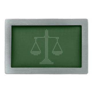 Escalas de la justicia en la correa verde oscuro B Hebillas Cinturon