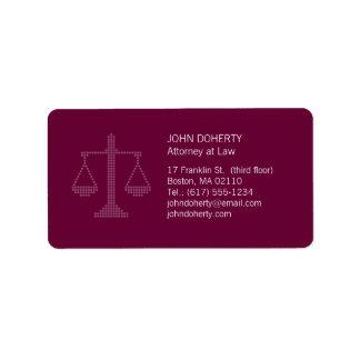 Escalas de la justicia - etiqueta etiquetas de dirección