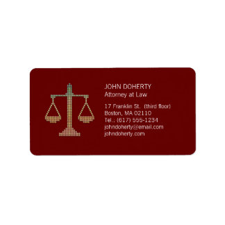 Escalas de la justicia - etiqueta etiqueta de dirección