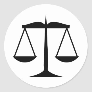 Escalas de la justicia (ley) pegatina redonda
