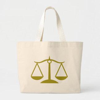 Escalas de la justicia - oro bolsa tela grande