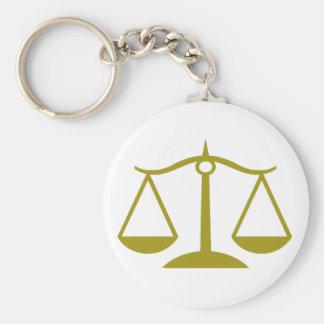 Escalas de la justicia - oro llavero redondo tipo pin