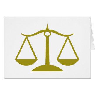 Escalas de la justicia - oro tarjeton