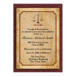 Escalas de la justicia, pergamino, invitación del