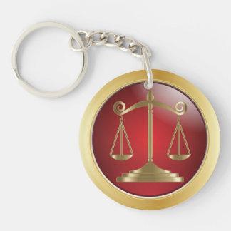 Escalas del abogado de la ley el | de la justicia llavero redondo acrílico a doble cara