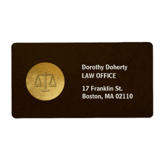 Escalas del bufete de abogados de la justicia el | etiquetas de envío