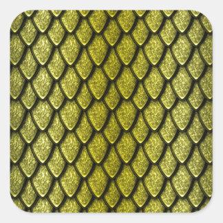 Escalas del dragón del oro pegatina cuadrada