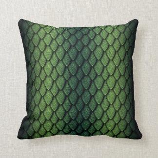 Escalas del dragón verde cojín