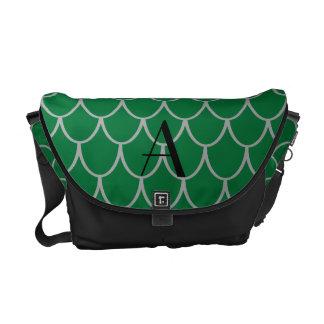 Escalas del dragón verde del monograma bolsas de mensajeria
