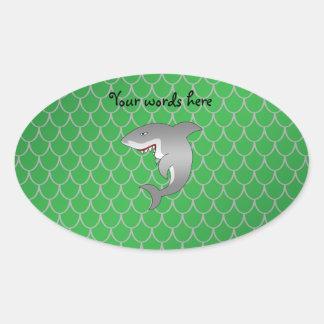 Escalas del dragón verde del tiburón colcomanias de óval personalizadas
