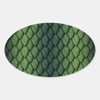 Escalas del dragón verde pegatinas óval personalizadas