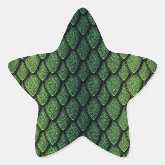 Escalas del dragón verde calcomanía forma de estrellae