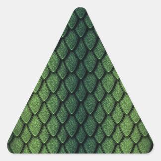 Escalas del dragón verde calcomanía triangulo