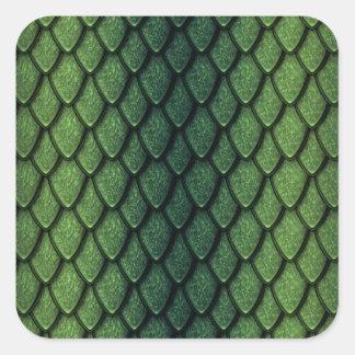 Escalas del dragón verde pegatina cuadrada