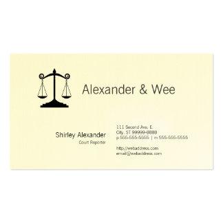 Escalas del reportero de corte de la justicia tarjetas de visita